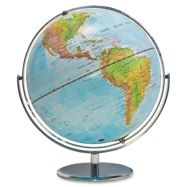 "Advantus Political/Physical World Globe, 12"" dia, Silver Metal Base"