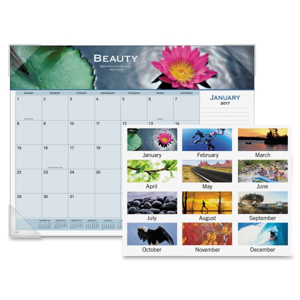 Visual Organizer Panoramic Motivational Monthly Desk Pad Calendar