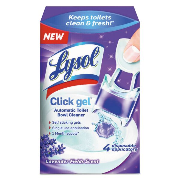 LYSOL Brand Click Gel Automatic Toilet Bowl Cleaner, Lavender Fields, 0.17oz, 4/Box, 5 BX/CT