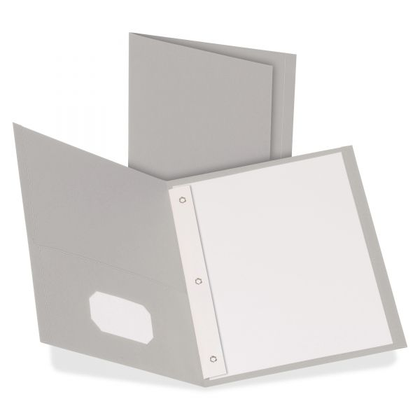 Oxford Twin-Pocket Folders with 3 Fasteners, 135-Sheet Capacity, Gray, 25/Box