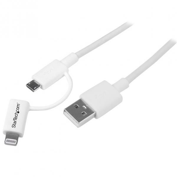 StarTech.com 1m (3ft) Apple Lightning or Micro USB to USB Cable for iPhone / iPod / iPad - White