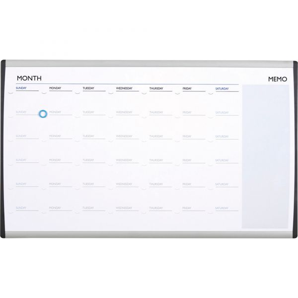"Quartet 30"" x 18"" Arc Magnetic Painted Steel Cubicle Dry Erase Whiteboard Calendar"