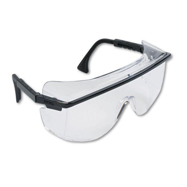 Honeywell Uvex Astro OTG 3001 Wraparound Safety Glasses, Black Plastic Frame, Clear Lens