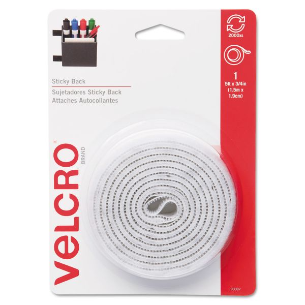 "Velcro Sticky-Back Hook & Loop Fastener Tape with Dispenser, 3/4"" x 5ft Roll, White"