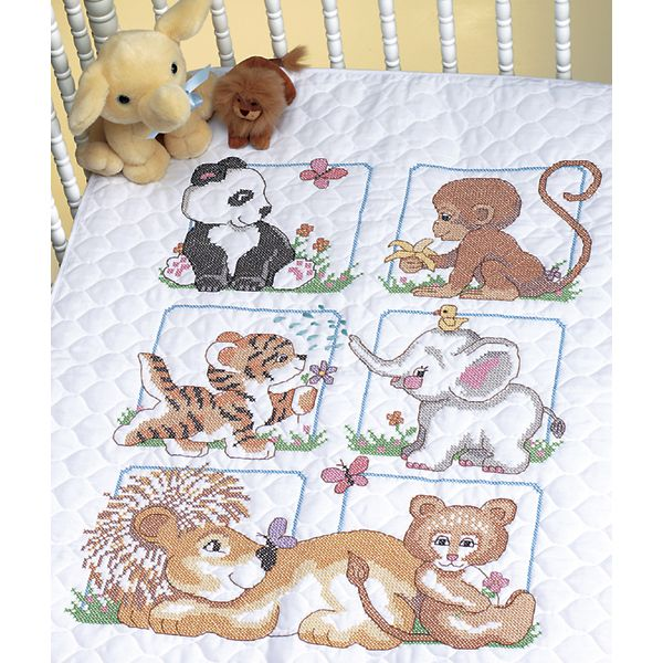 Dimensions Animal Babies Quilt Stamped Cross Stitch Kit