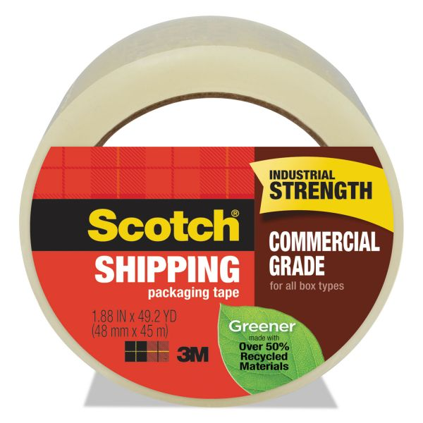 "Scotch Greener Commercial Grade Packaging Tape, 1.88"" x 49.2 yd, 3"" Core, Clear"