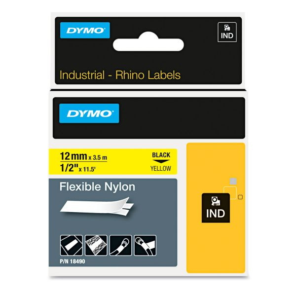 "DYMO Rhino Flexible Nylon Industrial Label Tape, 1/2"" x 11 1/2 ft, Yellow/Black Print"