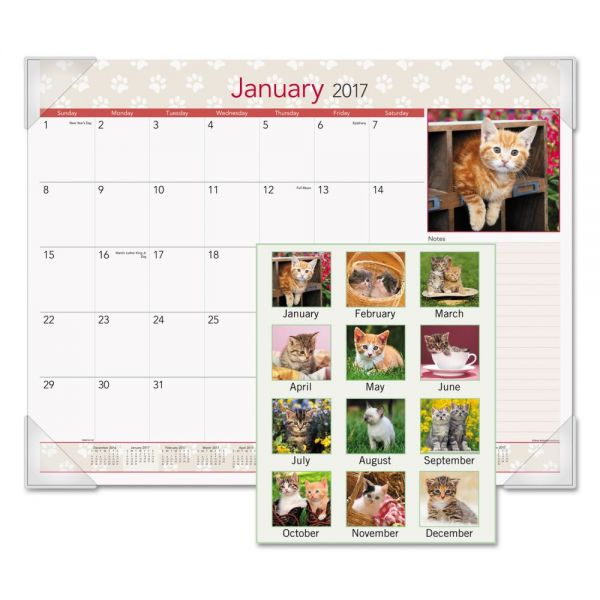 AT-A-GLANCE Kittens Recycled Monthly Desk Pad Calendar