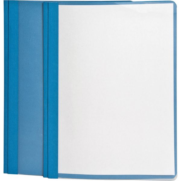 "Oxford Clear Front Report Cover, 3 Fasteners, Letter, 1/2"" Capacity, Blue, 25/Box"