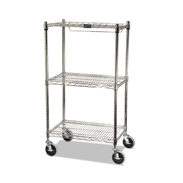 Rubbermaid Commercial ProSave Shelf Ingredient Bin Cart, Two-Shelf, 26w x 18d x 47 3/4h, Chrome