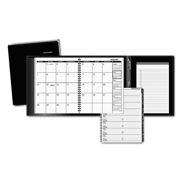 AT-A-GLANCE Plus Monthly Planner, 6 7/8 x 8 3/4, Black, 2019