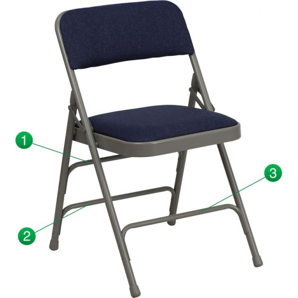 Flash Furniture HERCULES Series Curved Triple Braced & Double Hinged Navy Fabric Upholstered Metal Folding Chair