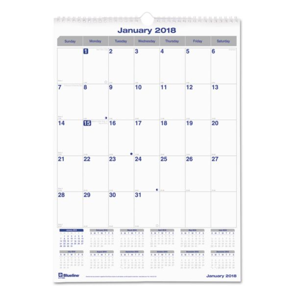 Blueline Net Zero Carbon Seal Monthly Wall Calendar