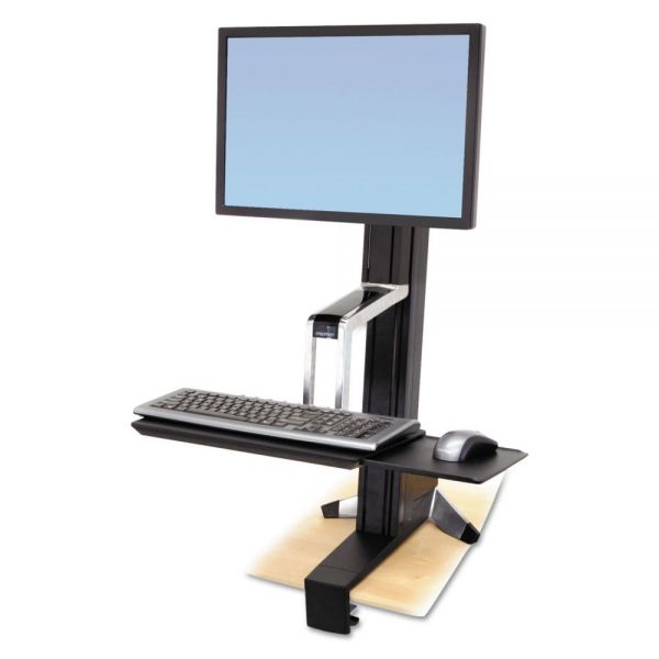 Ergotron WorkFit-S Sit-Stand Workstation without Worksurface, LCD HD, Aluminum/Black