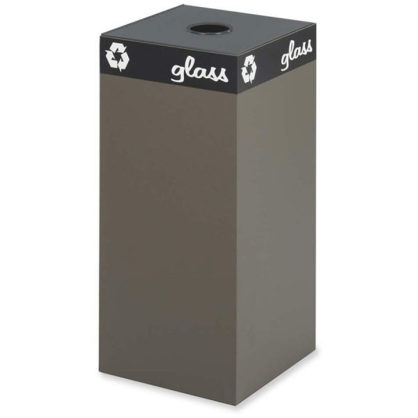 Safco Public Recycling Container, Square, Steel, 31gal, Brown