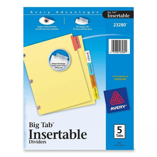 Avery Big Tab Reinforced Insertable Tab Index Dividers