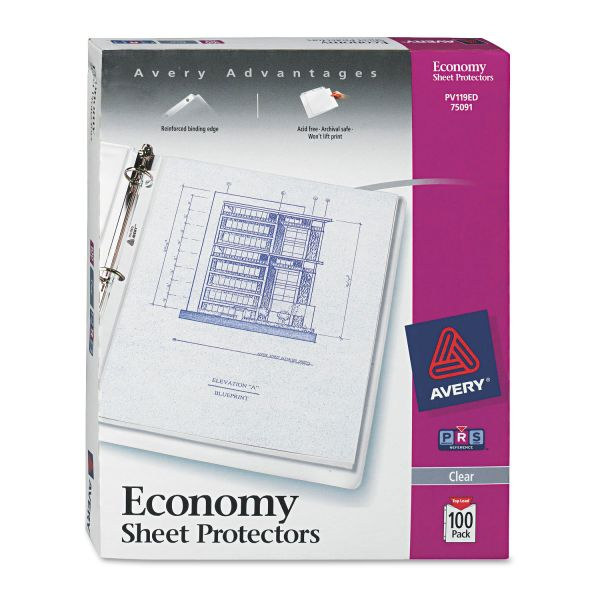 Avery Top-Load Sheet Protector, Letter, Economy Gauge, Clear, 100/Box