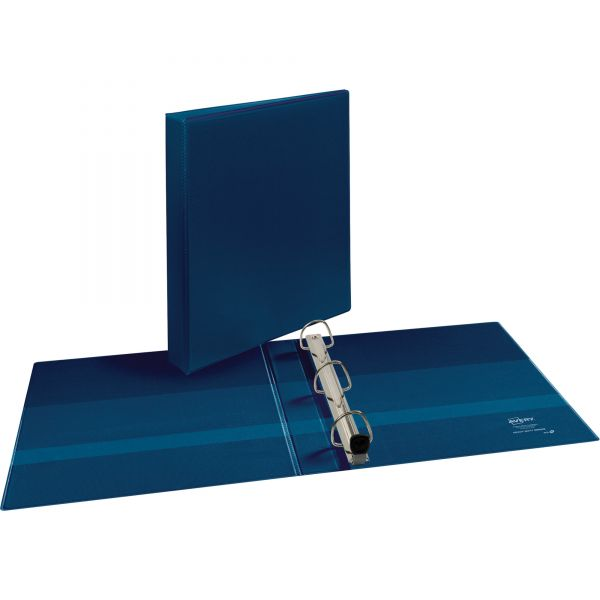 "Avery Heavy-Duty 3-Ring View Binder w/Locking 1-Touch EZD Rings, 1"" Capacity, Navy Blue"