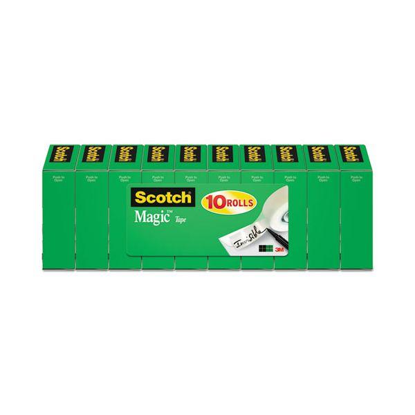 """Scotch Magic Tape Value Pack, 3/4"""" x 1000"""", 1"""" Core, Clear, 10/Pack"""