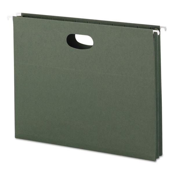 """Smead 1 3/4"""" Cap Hanging Pockets w/Full-Height Gussetts, Letter, Green, 25/Box"""