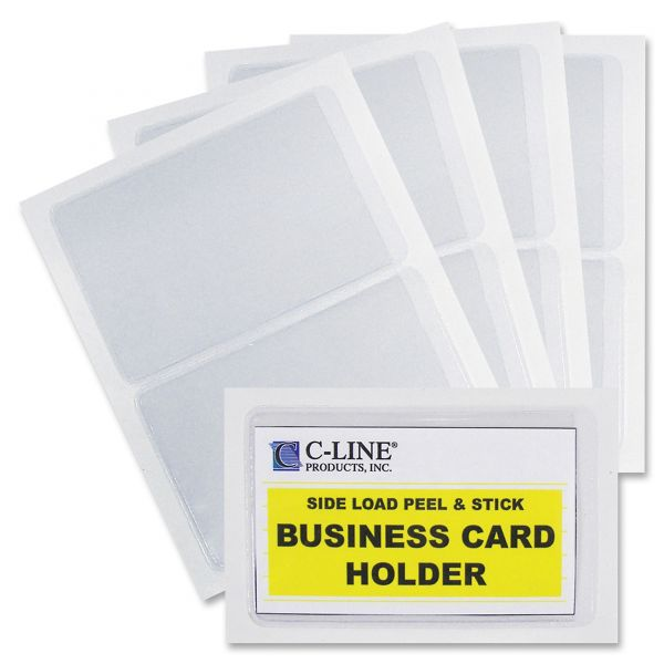 C-Line Self-Adhesive Business Card Holders, Side Load, 3 1/2 x 2, Clear, 10/Pack