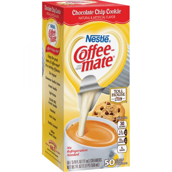 Coffee-mate Liquid Coffee Creamer, TH Chocolate Chip Cookie, 0.375oz Mini Cups, 50/Bx