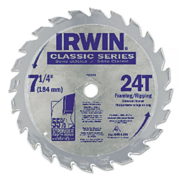 "IRWIN Classic Series Circular Saw Blade, Framing/Ripping, 24T, 7 1/4"", 18"