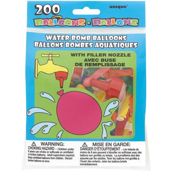 Water Bomb Balloons W/Nozzle 200/Pkg