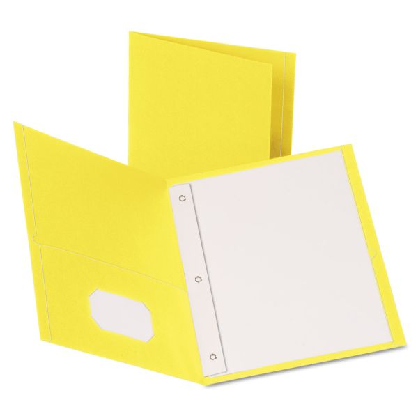 Oxford Yellow Two Pocket Folders with Fasteners