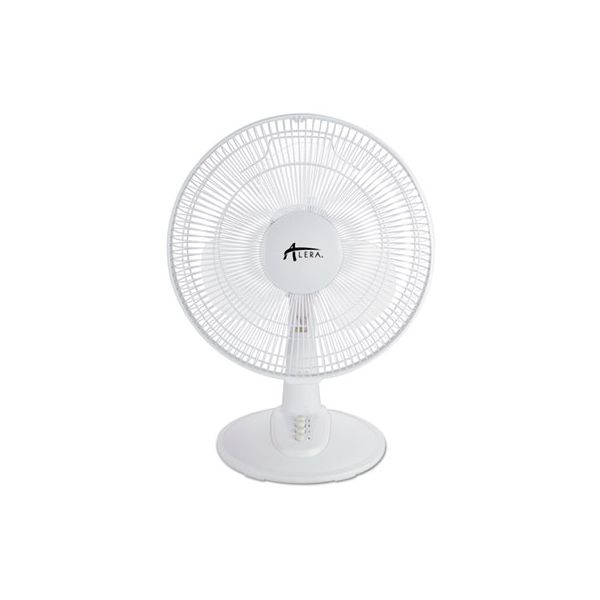 "Alera 12"" 3-Speed Oscillating Desk Fan, Plastic, White"