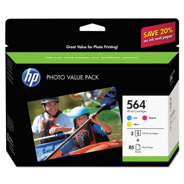 HP 564 Ink Cartridges w/Photo Paper (J2X80AN)
