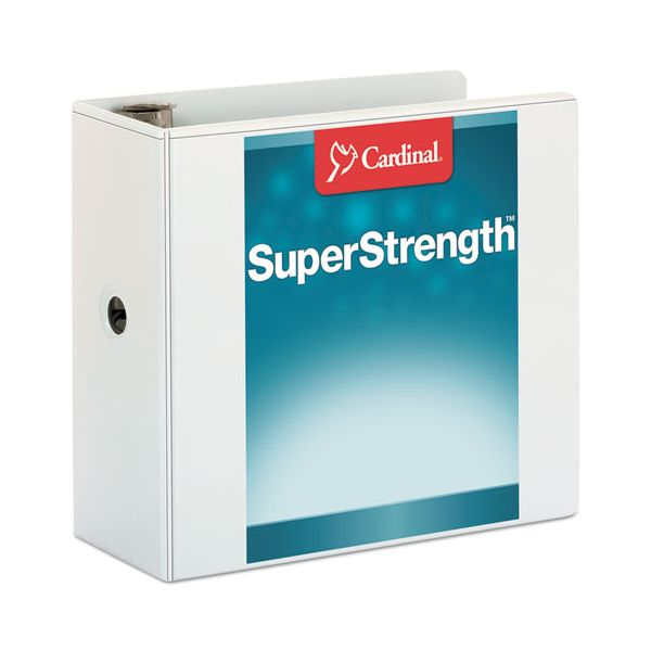 "Cardinal SuperStrength ClearVue Locking 3-Ring View Binder, 5"" Capacity, Slant-D Ring, White"