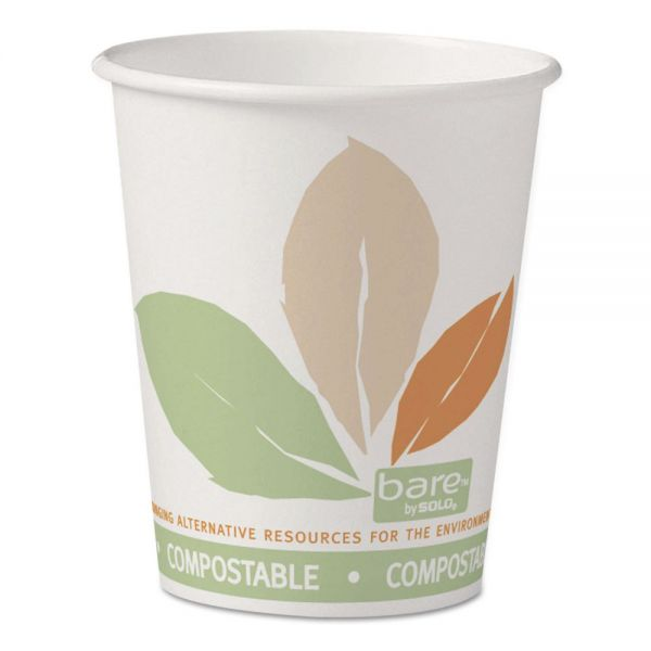 Dart Bare by Solo Eco-Forward PLA Paper Hot Cups, 10 oz, Leaf Design, 50/Pack