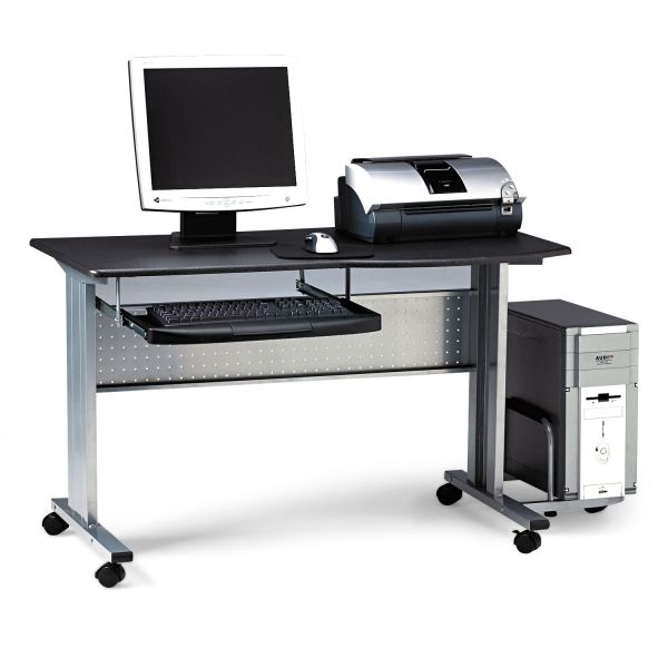 Tiffany Industries Eastwinds Mobile Work Table, 57w x 23-1/2d x 29h, Charcoal Laminate Top