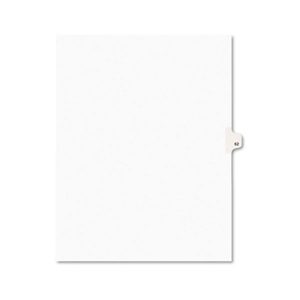 Avery Avery-Style Legal Exhibit Side Tab Divider, Title: 62, Letter, White, 25/Pack