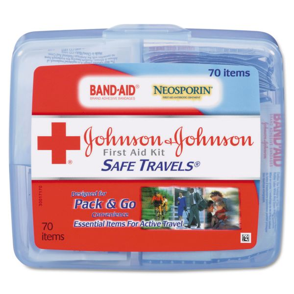 Johnson & Johnson Red Cross Portable Travel First Aid Kit, 70-Pieces, Plastic Case