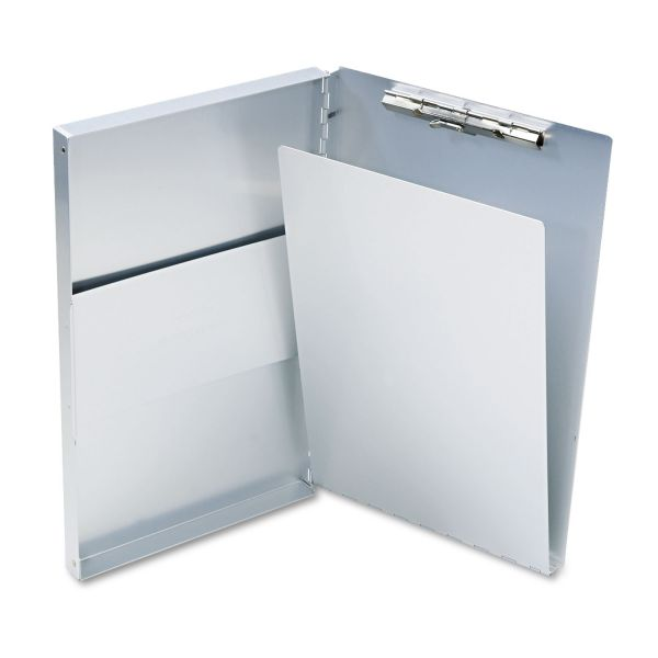 "Saunders Snapak Aluminum Side-Open Forms Folder, 1/2"" Clip, 8 1/2 x 14 Sheets, Silver"