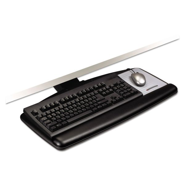 3M Knob Adjust Keyboard Tray With Standard Platform, 25 1/5w x 12d, Black
