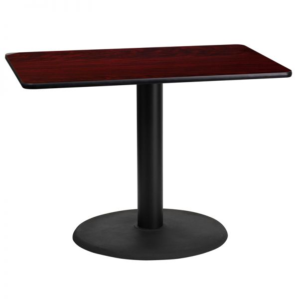 Flash Furniture 24'' x 42'' Rectangular Mahogany Laminate Table Top with 24'' Round Table Height Base