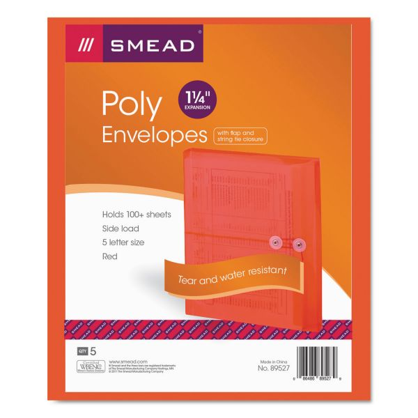 Smead 89527 Red Poly Envelopes