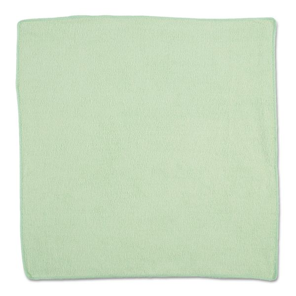 Rubbermaid Commercial Microfiber Cleaning Cloths, 16 X 16, Green, 24/Pack