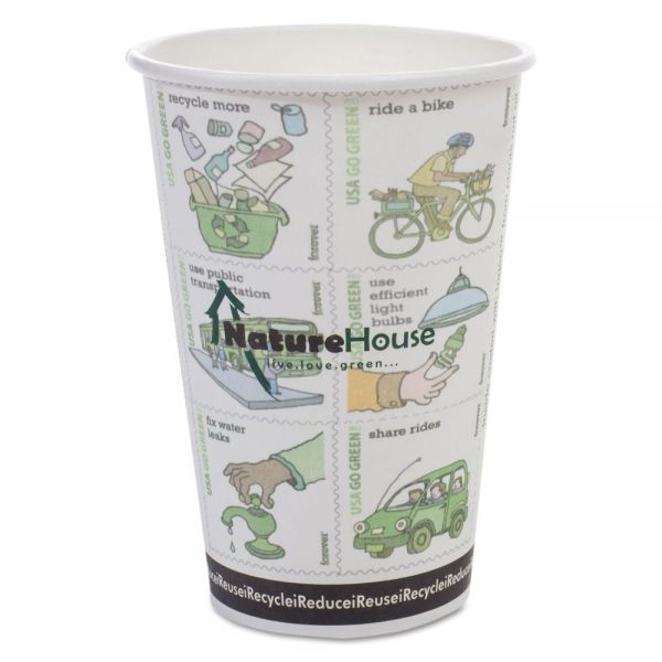 NatureHouse Compostable Insulated Ripple-Grip 10 oz Coffee Cups