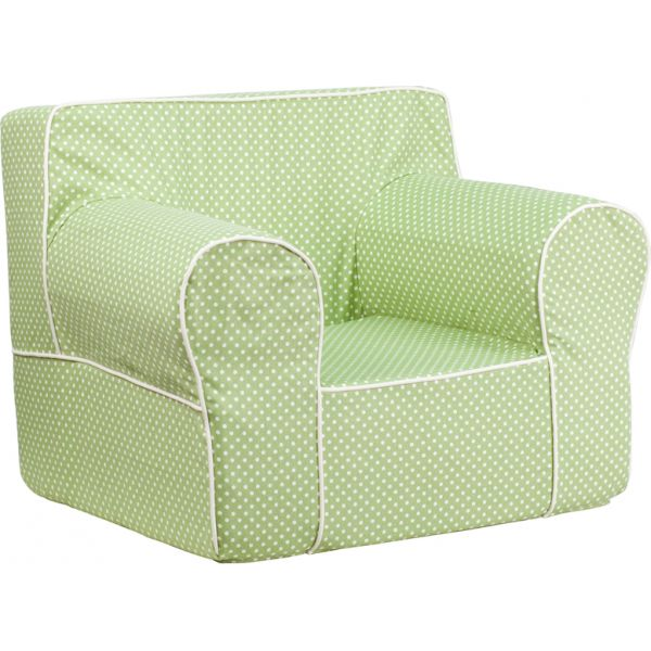 Flash Furniture Oversized Green Dot Kids Chair with White Piping
