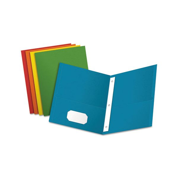 "Oxford Twin-Pocket Folders with 3 Fasteners, Letter, 1/2"" Capacity, Assorted, 25/Box"