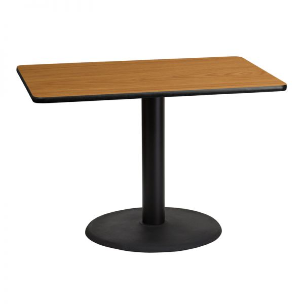 Flash Furniture 30'' x 42'' Rectangular Natural Laminate Table Top with 24'' Round Table Height Base
