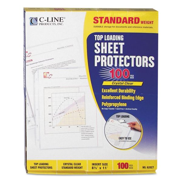 C-Line Top Loading Polypropylene Sheet Protector, Letter, Standard Weight, Clear, 100/Box