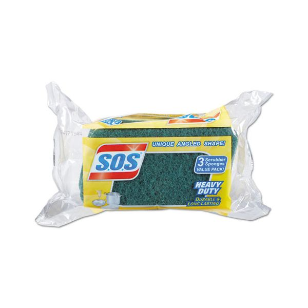 "S.O.S. Heavy Duty Scrubber Sponge, 2.5 x 4.5, 0.9"" Thick, Yellow/Green, 3/PK, 24 PK/CT"