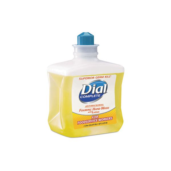 Dial Professional Antimicrobial Foaming Hand Soap, For Foodservice Workers, 1 Liter, 4/Carton