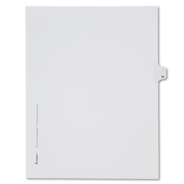Avery Allstate-Style Legal Exhibit Side Tab Divider, Title: 16, Letter, White, 25/Pack