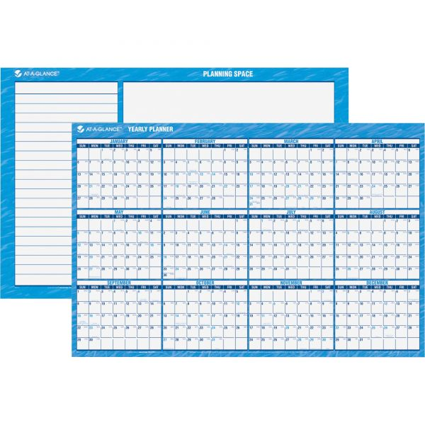 AT-A-GLANCE Horizontal Erasable Wall Planner, 48 x 32, Blue/White, 2019
